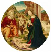 Maestro del Tondo BorgheseThe Adoration of the ChildOil on panel (parquetted). Diameter 85 cm.