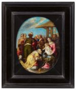 Flemish School 17th centuryThe Adoration of the MagiOil on copper. 22.5 x 18 (oval).