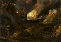 Monogramist HRA Landscape at Night with a burning CityOil on slate. 21.5 x 31.5 cm.Monogrammed and