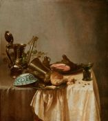 Adriaen Jansz. KraenBreakfast Still Life with Ham, Bread, a Wanli Dish, a Silver Pitcher, and