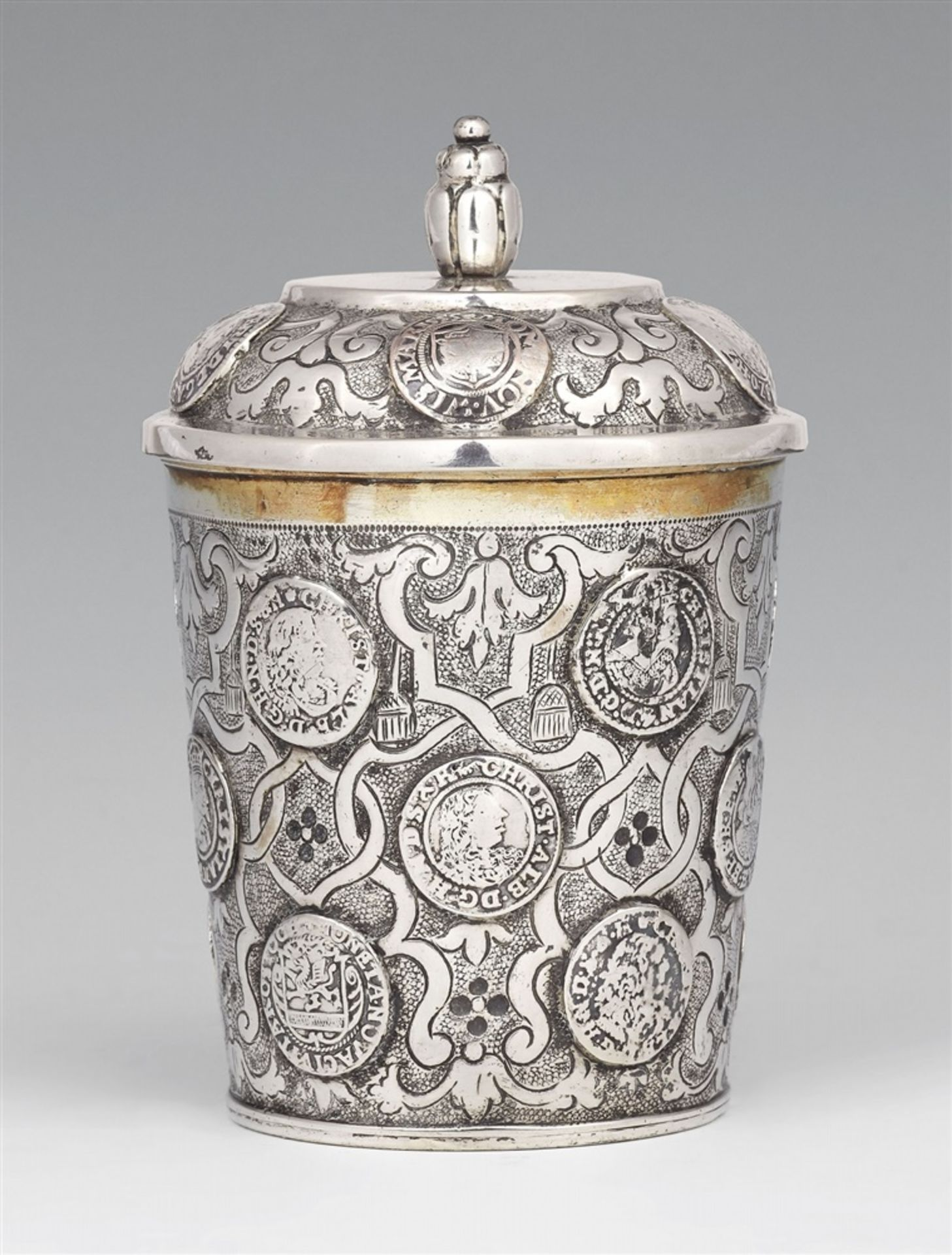 Los 742 - A Braunschweig silver coin beakerSilver; gilded inside. Silver beaker with gilt interior, with