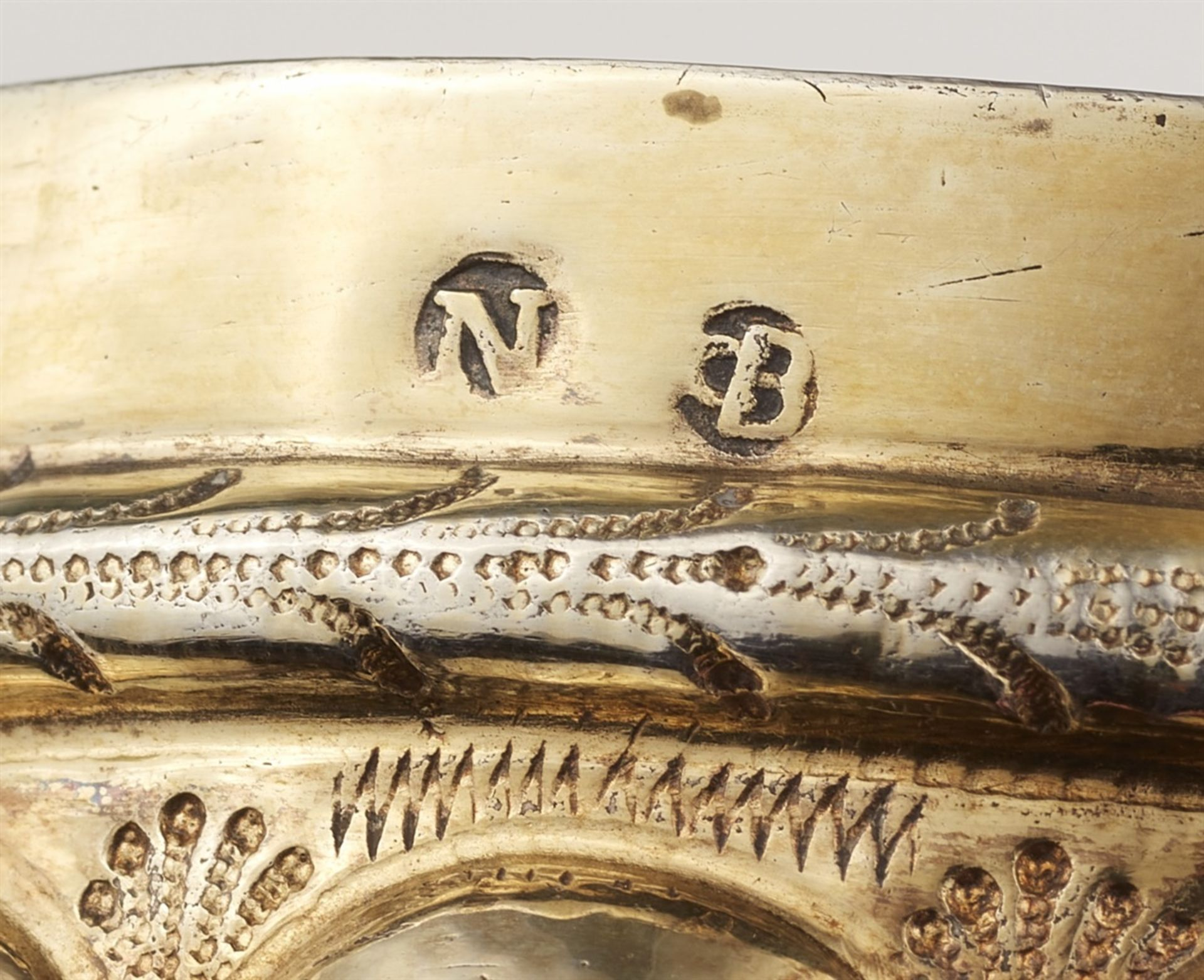 Los 715 - A Nuremberg silver nesting gobletSilver; gold-plated. Silver-gilt goblet formed from two identical