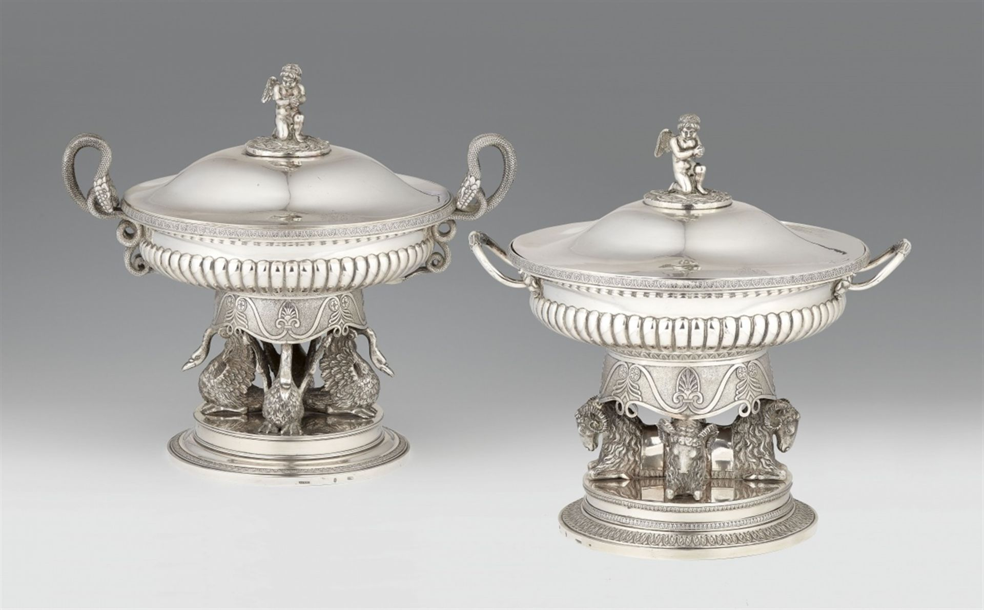 Los 712 - A pair of important silver tureens made for Grand Duke Georg von Mecklenburg-StrelitzSilver; gold-