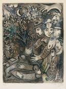 """Marc ChagallLa famille d'arlequinOriginal-Farblithographie auf Velin mit Wasserzeichen """"BFK"""" 67 x"""