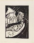 Erich HeckelMüdeOriginal-Holzschnitt auf Bütten 46,5/47,2 x 33,7/34,1 cm (62,5 x 51 cm) Unter Glas