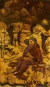 Julius BissierHeiliger HieronymusTempera auf Leinwand auf Holz 91,3 x 51,5 cm Gerahmt. Unten