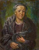 Otto DixBildnis Frau Elisabeth AscherÖl auf Holz 80,5 x 64 cm In vom Künstler bemalten Rahmen. Unten