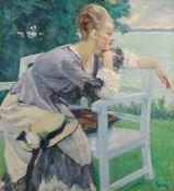 Edward CucuelTräumerei (Damenbildnis)Öl auf Leinwand 66,5 x 60,5 cm Gerahmt. Unten rechts blau