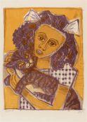 """Otto DixMädchen mit Katze II (Kopf schräg)Original-Farblithographie auf Bütten mit Wasserzeichen """""""