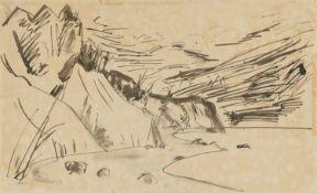 Erich HeckelStrandlandschaft (Flensburger Förde)Tuschpinsel- und Rohrfederzeichnung auf Velin 32,7 x
