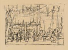 """Alberto GiacomettiL'dans l'atelierOriginal-Lithographie auf Velin mit Wasserzeichen """"Arches"""" 36,9"""