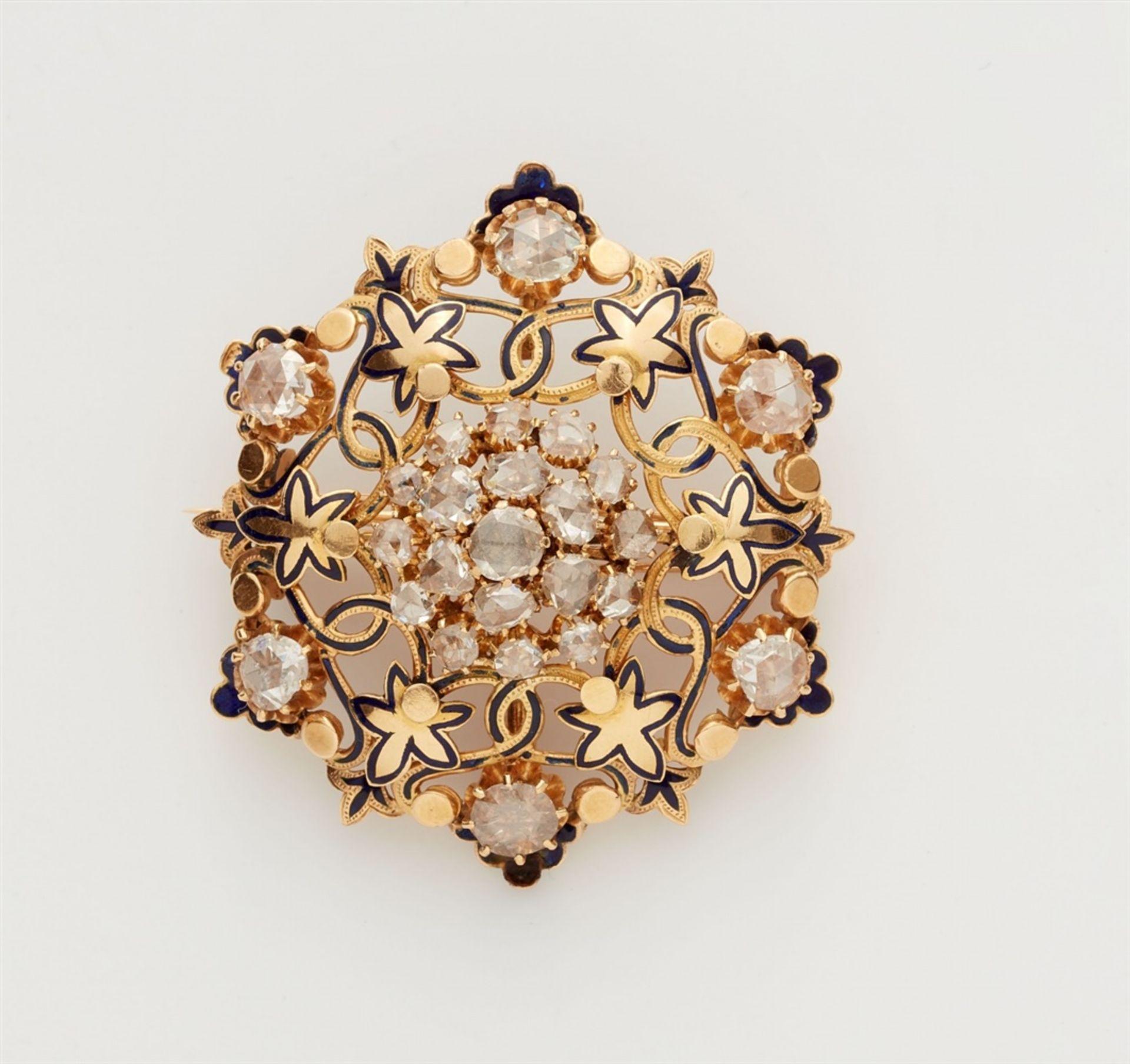 Rosettenbrosche mit Diamanten