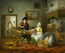 Pieter FonteynKücheninterieur mit zwei Frauen und einem schlafenden Kind in geflochtener Kor