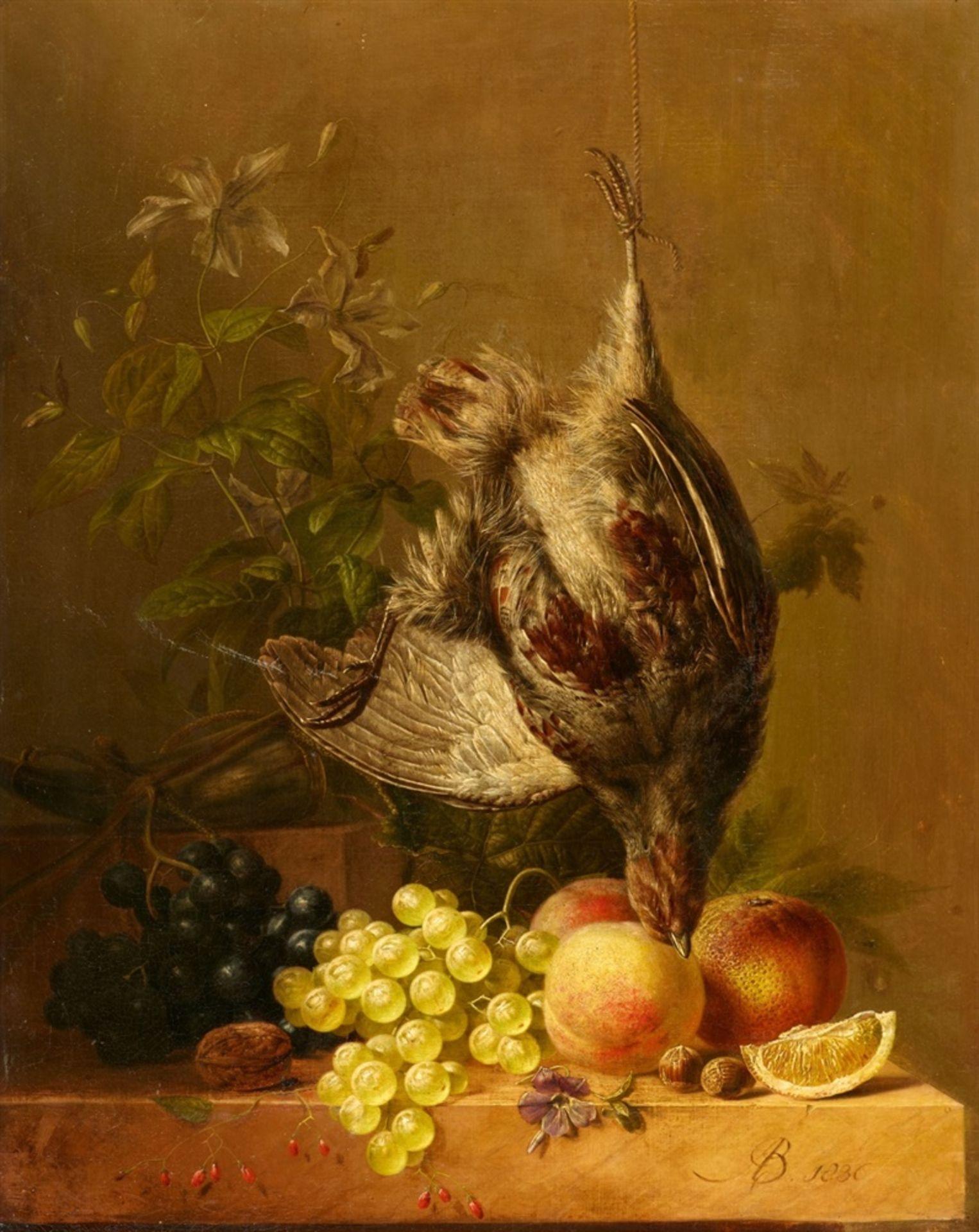 Arnoldus BloemersStillleben mit Früchten, Nüssen und Rebhuhn
