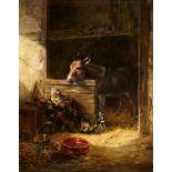 Carl Jutz d. Ä.Hundewelpen und Esel im Stall
