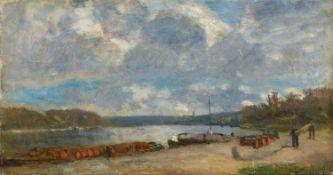 Albert Charles LebourgLastkähne am Ufer der Seine