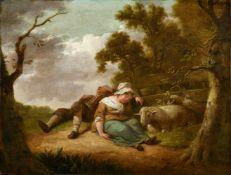 Heinrich Wilhelm (Hendrik Willem) SchweickhardtSchlafende Hirtenkinder an einem Zaun