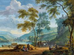 Dirck Dalens IIISüdtiroler oder Norditalienische Flusslandschaft mit Weinbergen und Weinlese