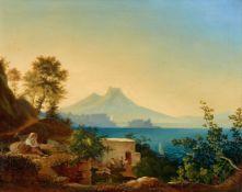 Ludwig RichterAm Golf von Neapel. Blick über das Castel dell'ovo auf den Vesuv