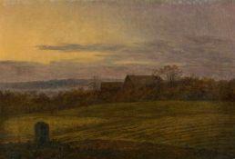 Carl Gustav CarusBlick über abendliche Felder auf ein Gehöft