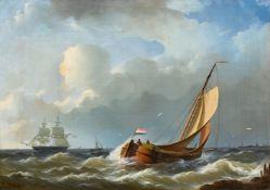 Abraham HulkFischerboote und Fregatte vor der Küste