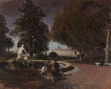 Oswald AchenbachAbends im Park der Villa Borghese mit Blick auf Sankt Peter