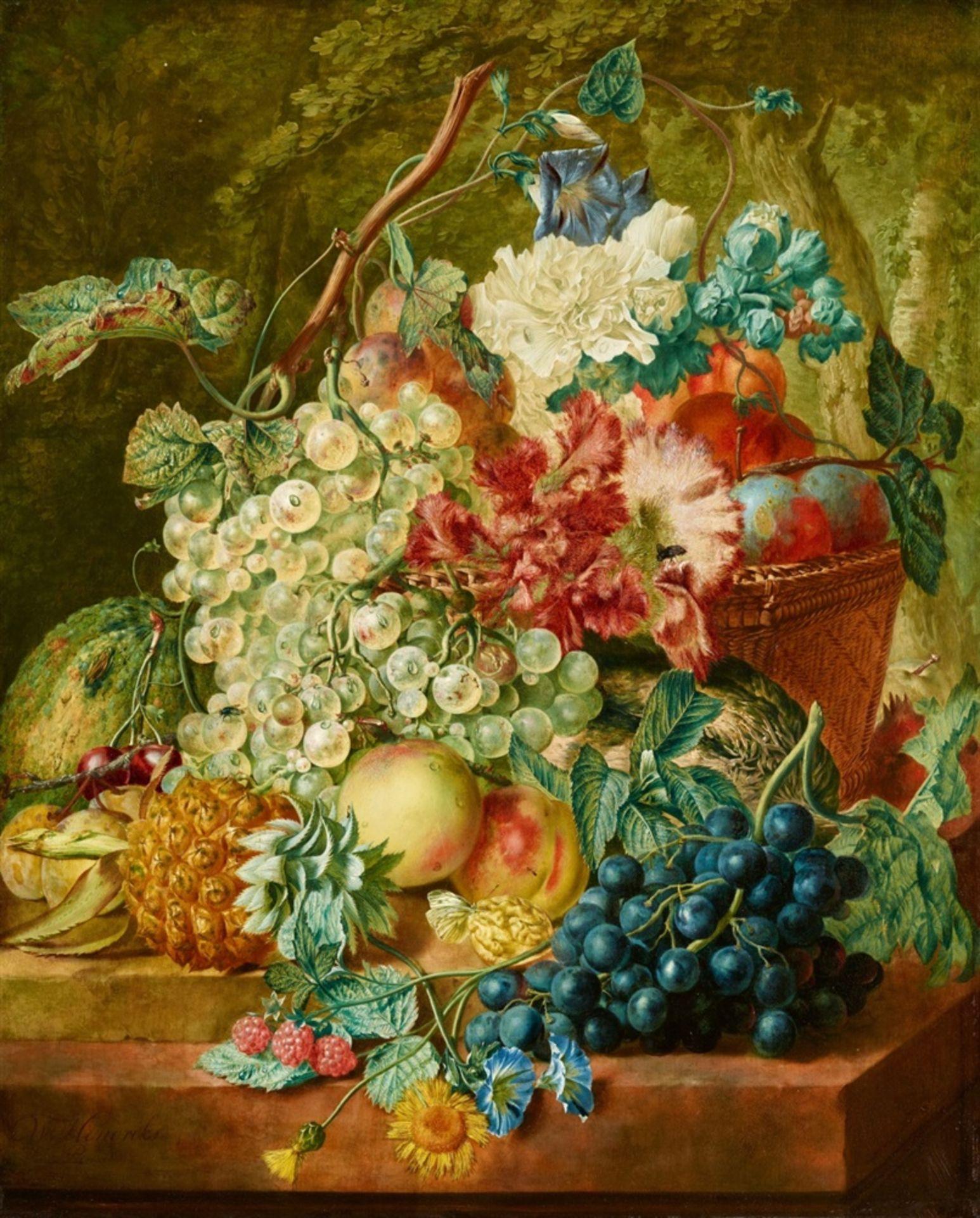 Wybrand HendriksKorb mit Weintrauben, Pfirsichen und Ananas auf einer Steinplatte