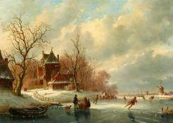 Anthony Andreas de MeyerWinterlandschaft mit Eisläufern