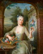 George van der MijnJunge Frau mit Blumenkorb vor einer Arkade