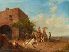 Heinrich BürkelRastende Familie vor einer Osteria