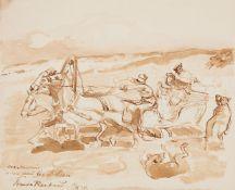 Franz Aleksejewitsch RoubaudGaloppierendes Pferdegespann mit Schneeschlitten