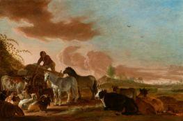 Cornelis SaftlevenLandschaft mit einem jungen Bauern auf einem Pferdewagen, von Pferden, ruhe