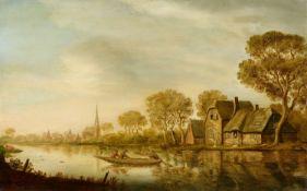 Pieter de NeynFlusslandschaft mit Ruderboot