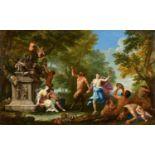 Filippo LauriBacchantinnen, von Pan angeführt, feiern den Weingott Bacchus mit Tanz und Blum