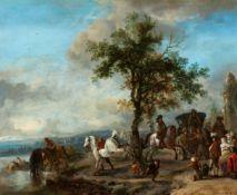 Philips WouwermanEine elegante Gesellschaft und eine Kutsche am Flussufer
