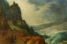 Joos de MomperBerglandschaft mit Kirche und Wanderern