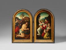 Niederländischer Meister des 16. JahrhundertsDiptychon mit Szenen aus der Passion Christi</b