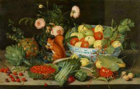 Peter BinoitFrüchte- und Gemüsestillleben mit Rosen in einer Vase und einem Eichhörnchen</