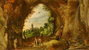 Joos de MomperJan Brueghel d. J.Grottenlandschaft mit Einsiedelei