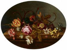 Ambrosius Bosschaert d. J.Rose, Tulpe, Iris und andere Blüten mit Raupe und Schmetterling au