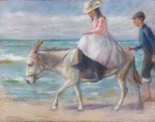 """Max Liebermann""""Dame in rosa Kleid auf weißem Esel"""" - Mädchen beim Eselreiten am Strand von"""
