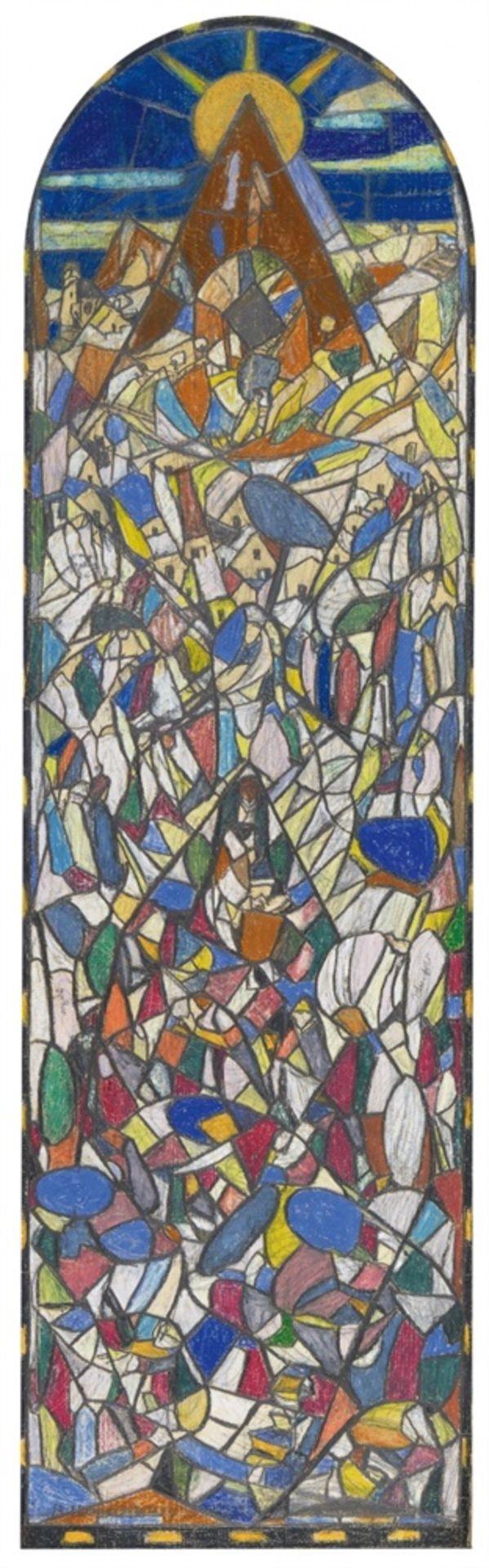 Adolf HölzelEntwurf für das Glasfenster im Bibliothekszimmer Dr. Fulda, Lauta-Werk, Lauta/L