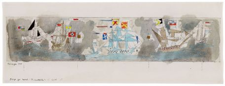 "Lyonel FeiningerDesign for Mural ""SS Constitution"". Verso: Segelschiffe und Kreuzer."
