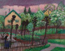 Gabriele MünterGarten mit zwei gelben Häusern (Sommerlicher Garten)