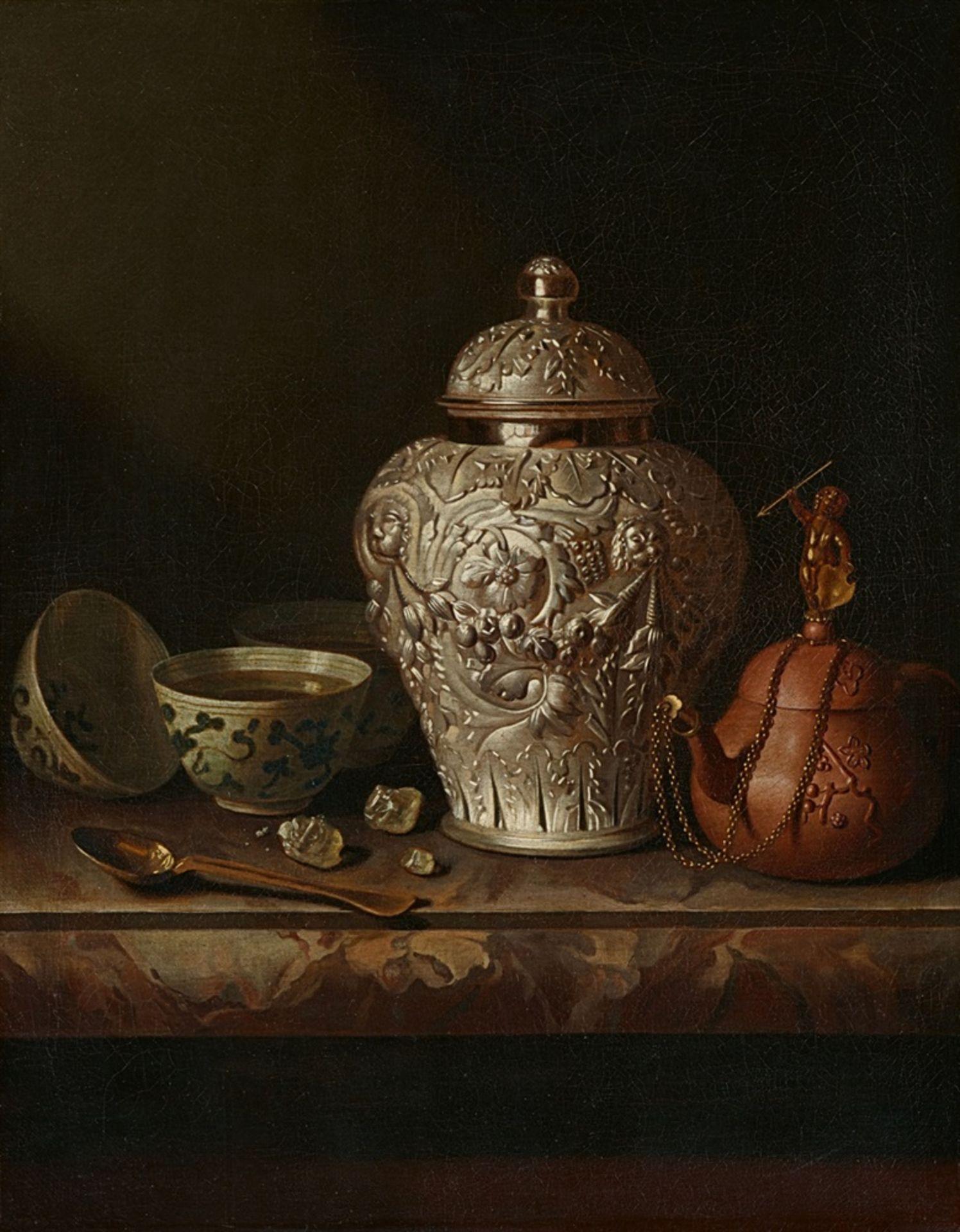Pieter Gerritsz. van RoestratenStillleben mit silberner Ingwerdose, Teekanne und anderen Gege