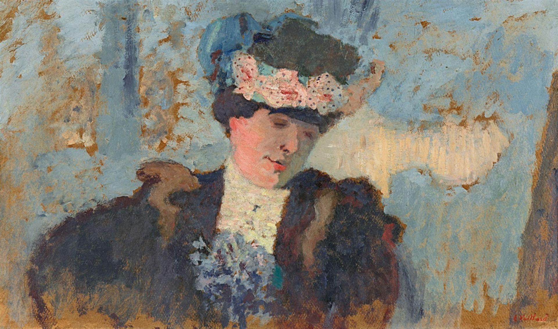 Edouard VuillardMadame Hessel au chapeau garni de roses
