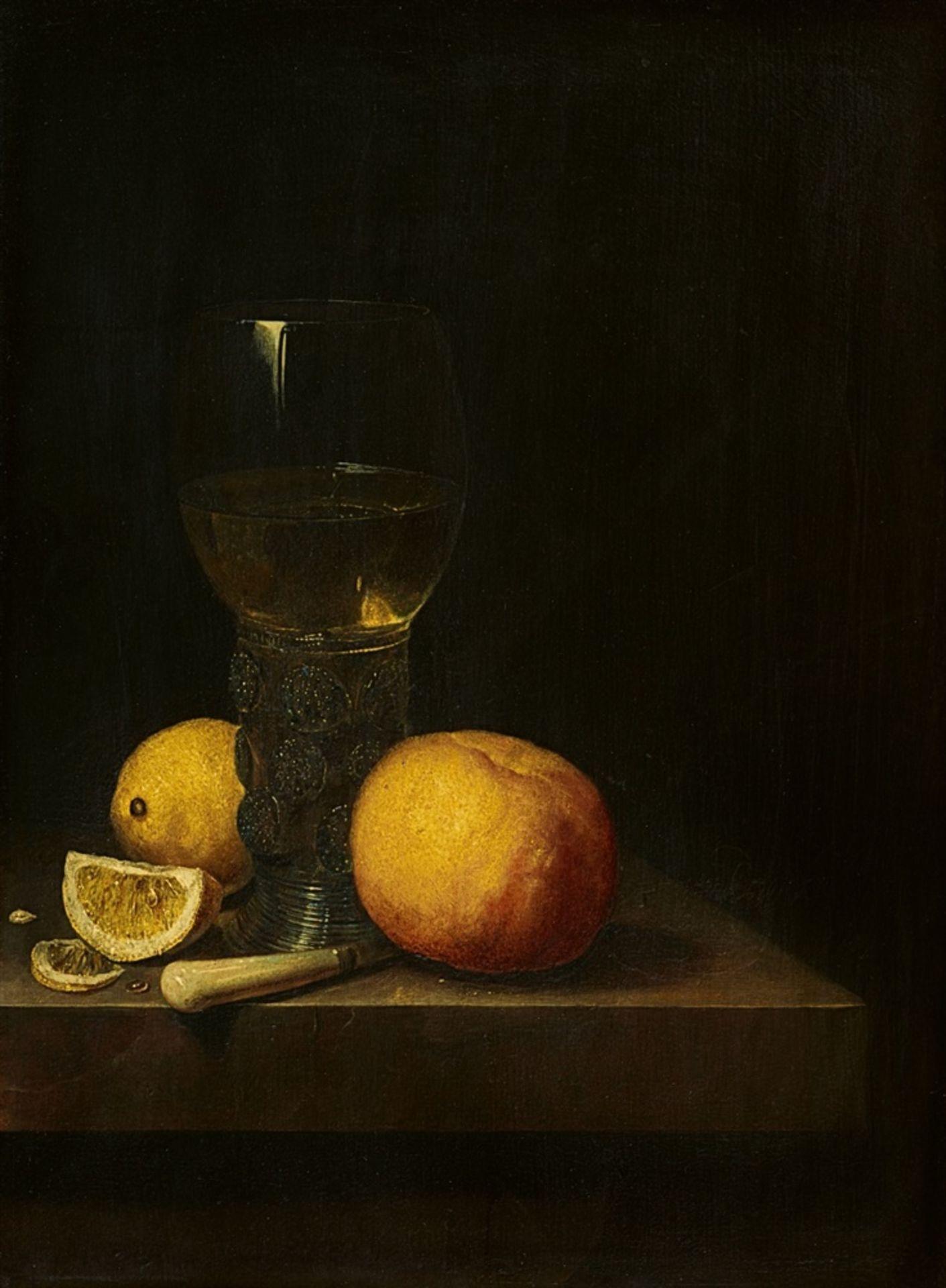 Cornelis KickStillleben mit Römerglas, Orange und Zitronen