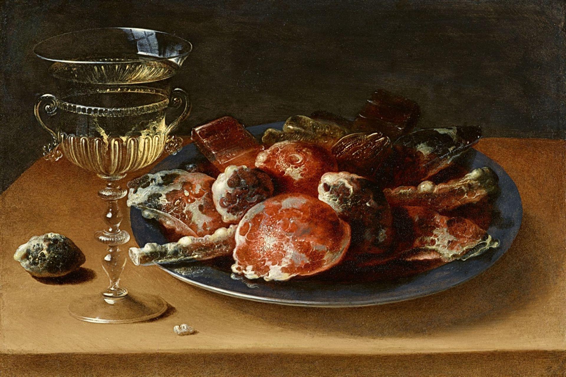 Ossias BeertStillleben mit einem Weinglas à la façon de Venise sowie einem Zinnteller mit k