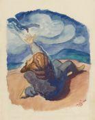 Ludwig MeidnerFigur in Landschaft. Verso: Figurengruppe in nächtlicher Landschaft