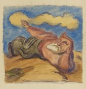 Ludwig MeidnerLiegende bärtige Figur in Landschaft